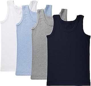 Brix 幼儿男孩背心 – 4 件装棉质衬衫舒适幼儿服装。
