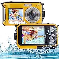 水下摄像头全高清 2.7K 48MP 防水摄像头适用于浮潜双屏防水相机数码带自拍定时器和 16 倍数码变焦(黄色)