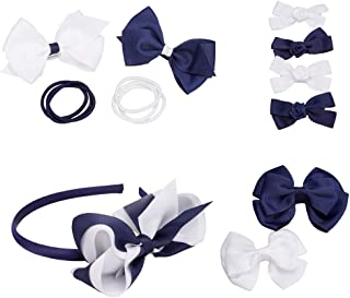 French Toast 学院制服蝴蝶结夹、头带和马尾架,4 件装,*蓝和白色,均码