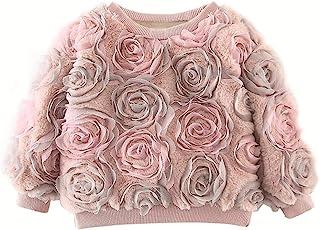 3D 玫瑰花卉羊毛夹克套衫,适合女孩幼儿和儿童