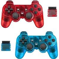 BicycleStore 2 件装无线控制器,适用于 PS2 Playstation 2.4G 游戏手柄操纵杆遥控器,带…
