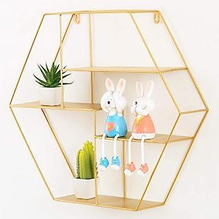 Tiita 壁架 乡村铁 金色浮动架 卧室、客厅、浴室、厨房、办公室等装饰墙架 (六角形、金色)