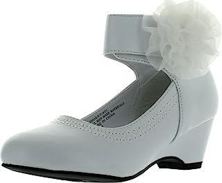 人造革雪纺蝴蝶结踝袖儿童坡跟凉鞋(幼儿/小女孩/大女孩)BA62 - 白色