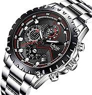 手表男式奢华品牌计时男式运动手表防水全钢石英男式手表 D
