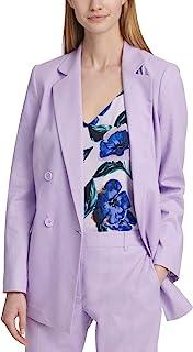DKNY 女式亚麻混纺西装双排扣西装