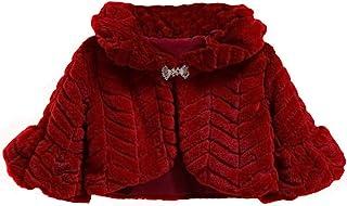 Cozomiz 女孩人造皮草外套披肩短披肩花朵女孩短披肩带胸针