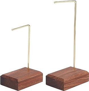 FINGERINSPIRE 2 件套巧克力色耳环展示架带核桃底座(高度:9.4 和 14.5 厘米)零售单环耳环挂钩珠宝支架照片道具用于工艺秀