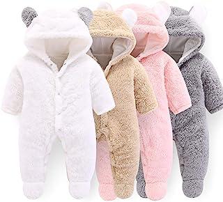 新生儿婴儿卡通熊雪衣冬季外套羊毛连帽连身衣