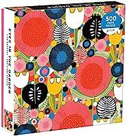 Galison Eyes in The Garden 拼图 500 片 20 英寸 x 20 英寸 – 明亮而欢快的花朵、形状和关心的*插图 – 具有挑战性,家庭娱乐的完美选择 – 有趣的室内活动