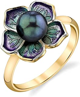 THE PEARL SOURCE 6-6.5mm 纯正黑日本 Akoya 海水养殖珍珠和珐琅磁铁女士戒指