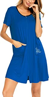 SWOMOG 女式拉链家居服短袖长袍莫代尔晚安睡衣带口袋