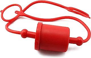 DTTRA 3/4M 液压耦合器防尘盖,LSQ-S2 系列,液压快速断开端口插头盖配件,塑料防尘盖和插头,红色盖带固定环保持盖连接到软管上