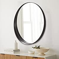 ANDY STAR 圆形镜子,60.96 厘米圆形黑色浴室镜子,不锈钢金属框架,适用于浴室、梳妆台、入口、客厅,当代 7…