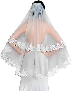 ULAPAN 新娘面纱带梳子女式短 2 层蕾丝刺绣花朵婚礼指尖长度