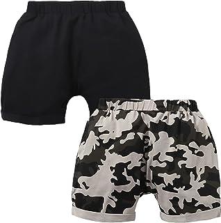 SOBOWO 新生婴儿男孩女孩慢跑短裤黑色迷彩 2 件装婴儿棉质跑步运动哈伦裤 0-24 个月