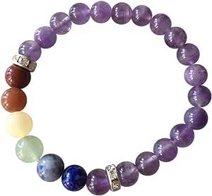 Body Mind and Soul' 正品紫水晶宝石脉轮佛珠手链 ~ 来自印度西山合乎道德的天然宝石 ~ 礼盒装手工珠宝(脉轮手链)