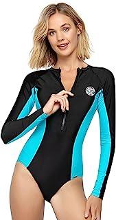 AXESEA 女式*长袖连体式泳衣 UV UPF 50+ *拉链印花拼接泳衣