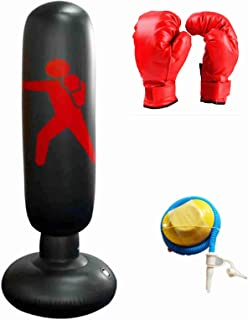 YUEBM 健身运动充气拳击杆垂直成人充气拳击杆 1.6 米带手套和脚泵