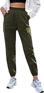 DIDK 女式休闲松紧高腰慢跑裤纯色短款工装裤