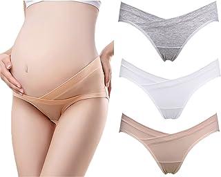 Ekouaer 女式 Under the Bump 孕妇内裤棉质孕妇内裤低腰产后内裤 3 条装