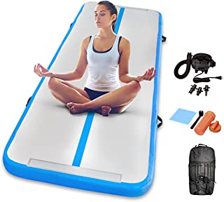 dwzdd Gymnastics 充气空气翻滚垫 13 英尺 16 英尺 20 英尺轨道空气垫带电动气泵,适用于海滩、训练、啦队、水上瑜伽(白色+粉色,19 英尺)(白色+蓝色,13 英尺)