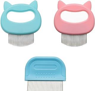 猫按摩梳和梳子套装适用于短发和长发,去除泪渍,猫梳理梳子,适用于狗狗、猫、小宠物