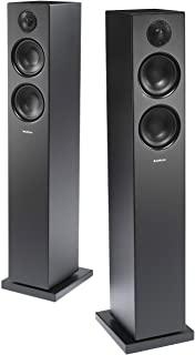 Audio Pro Addon T20 HiFi 立体声蓝牙供电无线落地式立式扬声器,用于计算机,笔记本电脑,台式机,手机和平板电脑-一对,黑色