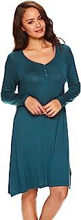 Lamaze 贴身女士护理睡衣长袖哺乳孕妇睡衣睡裙, 深水绿, Small