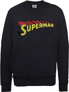 DC Comics 男式 DC0000726 官方超人 伸缩标志裂纹圆领长袖运动衫