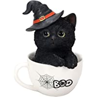Pacific Giftware 万圣节女巫的黑猫茶杯收藏雕像家居装饰