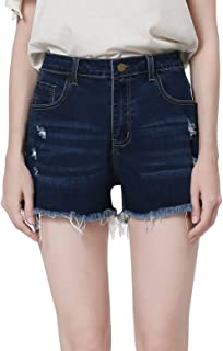 WINLIEBA 女式青少年做旧破洞牛仔短裤弹力磨损毛边牛仔短裤