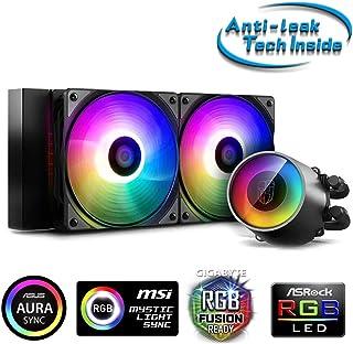 DeepCool Castle 240 RGB V2 散热系统防漏散热器 240 毫米液体散热器 RGB 彩虹可编程 5V ADD RGB 3 针兼容 Intel 115X/2066 和 AMD TR4/AM4