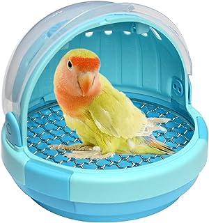 带手柄的鸟笼 - 鹦鹉背带 轻便便携宠物手提箱 透明透气温暖窝床 适用于鹦鹉鹦鹉鹦鹉鹦鹉鹦鹉鸟配件(蓝色)