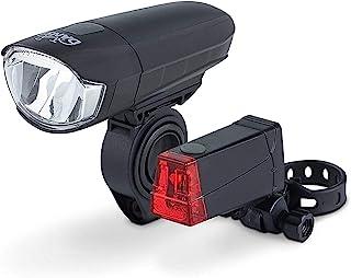 DANSI 自行车电池灯套装,StVZO 认证,LED 自行车照明,有前后灯的套装,可切换30 / 15 Lux,防雨防撞,黑色,44001