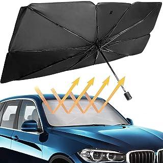 HOLDCY 汽车挡风玻璃遮阳罩 - 伸缩遮阳伞 - 阻挡紫外线遮阳板保护罩,让您的车辆保持凉爽和损坏,适用于大多数轿车 SUV 卡车(130.5 厘米 x 80.9 厘米)