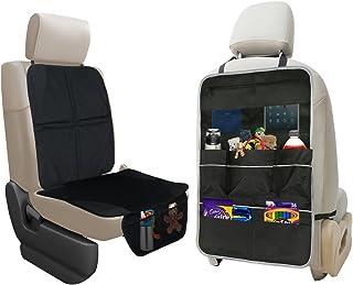 lebogner 汽车座椅保护罩 + 后座收纳袋,耐用优质座椅套,7 个口袋存储汽车座椅靠背收纳袋和踢垫保护套,XL 码儿童玩具和旅行配件收纳袋