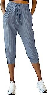 MIROL 女式抽绳七分裤慢跑裤华夫格针织弹性腰部运动裤运动瑜伽运动裤 带口袋