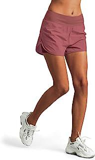 M MOTEEPI 4 英寸(约 10.2 厘米)女士跑步短裤高腰运动锻炼短裤带内衬口袋双层