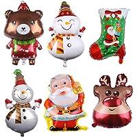 6 件圣诞装饰气球,巨型圣诞铝箔气球圣诞老人驯鹿雪人麋鹿圣诞节铝箔聚酯薄膜气球圣诞节装饰派对用品