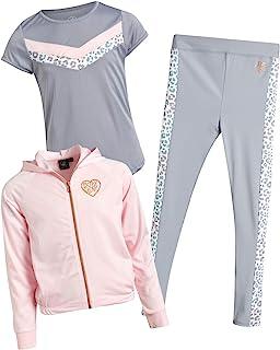 Body Glove 女童 3 件套运动慢跑裤套装 T 恤和夹克