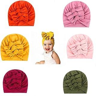 CANSHOW 6 件套女婴帽子,新生儿女孩帽子,婴儿头巾,蝴蝶结兔帽,女婴柔软可爱幼儿帽棉质头巾