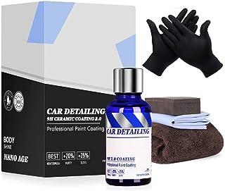 9H 陶瓷涂层 Pro 2.0,高光泽超疏水防刮 易于使用镜面油漆保护车套装,可持续 18 个月,纳米陶瓷涂层,带手套密封剂涂层 50 毫升