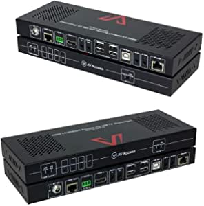 AV 接入 HDMI 2.0 KVM HDBaesT 扩展器 PoH 4K60Hz 4:4 18Gbps 1080P HDR 330ft(100m) Over Cat5e/6/6a/7,可切换 1 个主机 & 4 个 USB2.0,双向 IR/ 3.5mm 立体声/ RS232,以太网扩展
