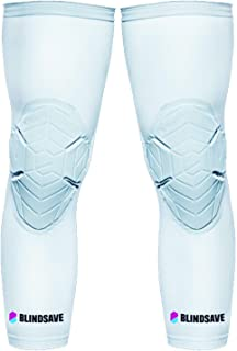 BLINDSAVE 篮球护膝 – 压缩袖垫提供*、舒适、支撑 – 减震袖套用于关节保护 – 轻薄、轻质加垫装备,适合运动男士、女士和儿童