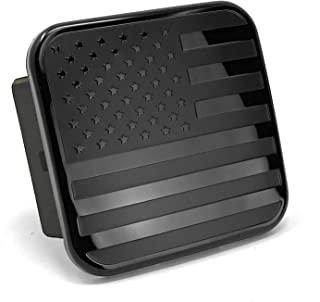 美国黑色金属美国国旗拖车挂接盖 - 爱国国旗插头(黑色,适合 2 英寸接收器)