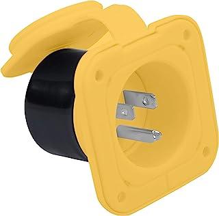 替换入口插头公头,带锁 NEMA 5-15P 适用于 RVs 拖车和露营者 125V 15 AMP 黄色