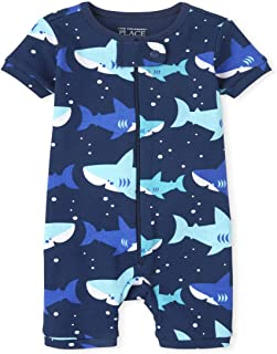 The Children's Place 中性款婴儿和幼儿鲨鱼舒适贴身棉质短款连体睡衣