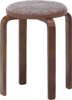 不二贸易 堆叠 凳子 单人座 直径32厘米 米色/棕色 弯曲木 圆形 织物 14545