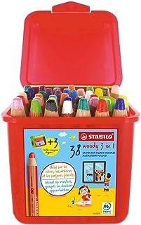 STABILO 思笔乐 woody 3 合 1-38 支笔盒和 3 支卷笔刀 13 种不同的颜色
