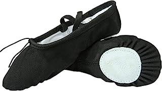 Nexete 芭蕾舞鞋拖鞋经典帆布分离式鞋底舞蹈拖鞋适合学步女童男孩女性